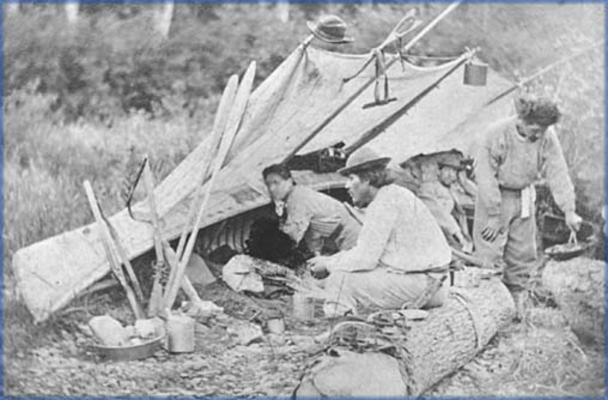 A Malecite camp in Quebec Province.