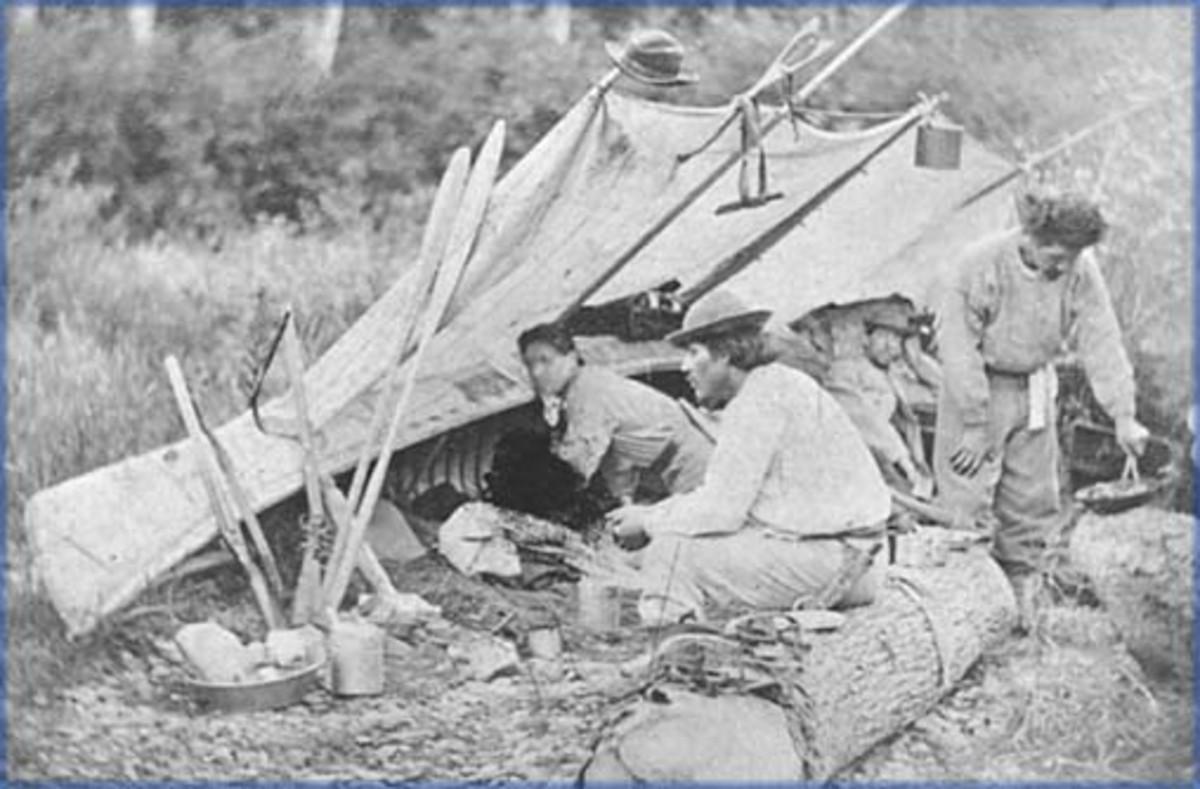 A Malecite camp in Quebec Province.