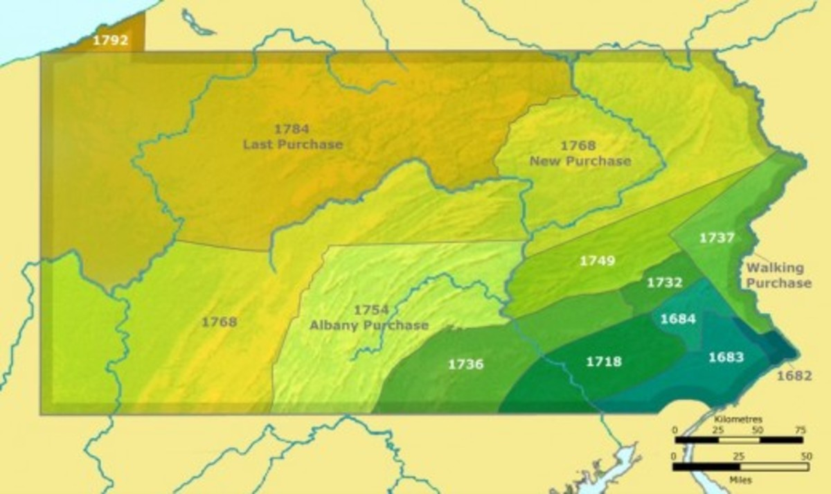 Map of lands purchased from Indigenous People in the East. Native Americans migrated into the Ohio Territory and farther to the West.