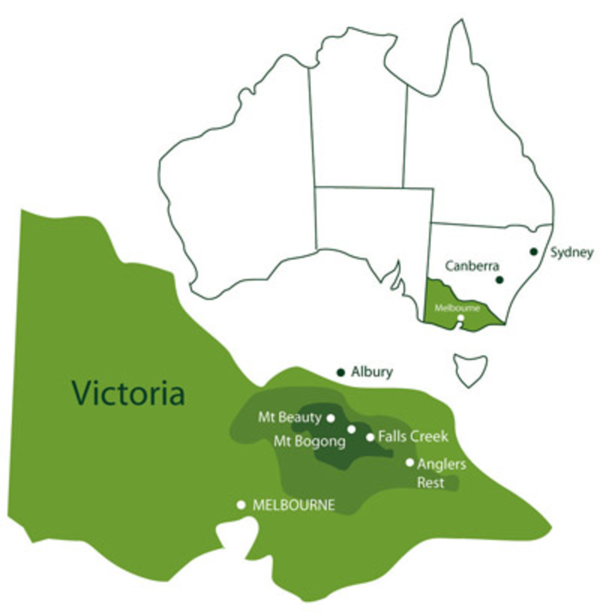 Map of Victorian Alps region