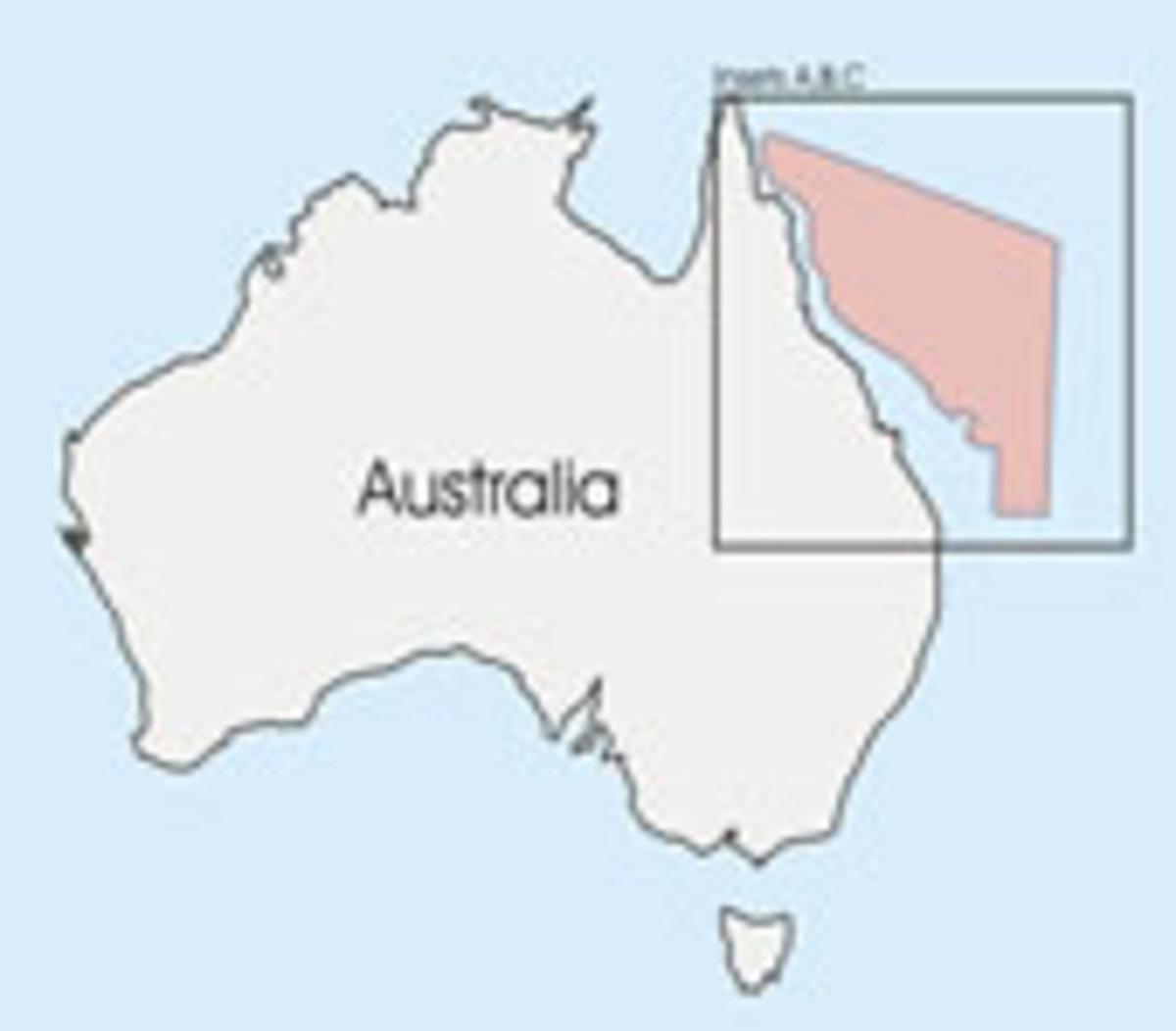 Area of the Coral Sea islands off the Queensland coast