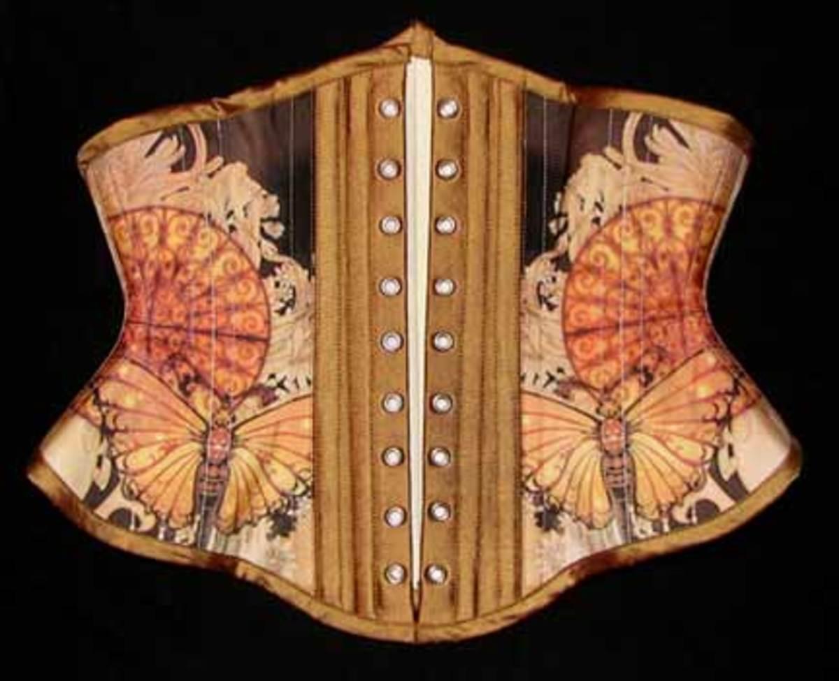 Silk Taffeta Custom Printed Corset Back