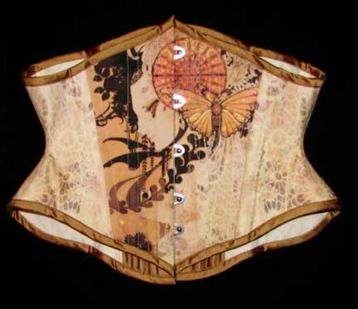 Silk Taffeta Custom Printed Corset Front