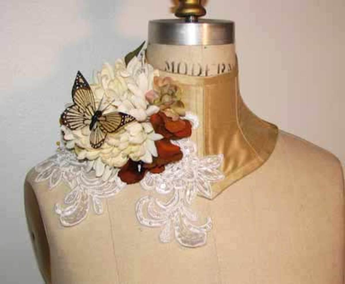 Gorgeous Neck Corset to Match Custom Printed Silk Taffeta Corset