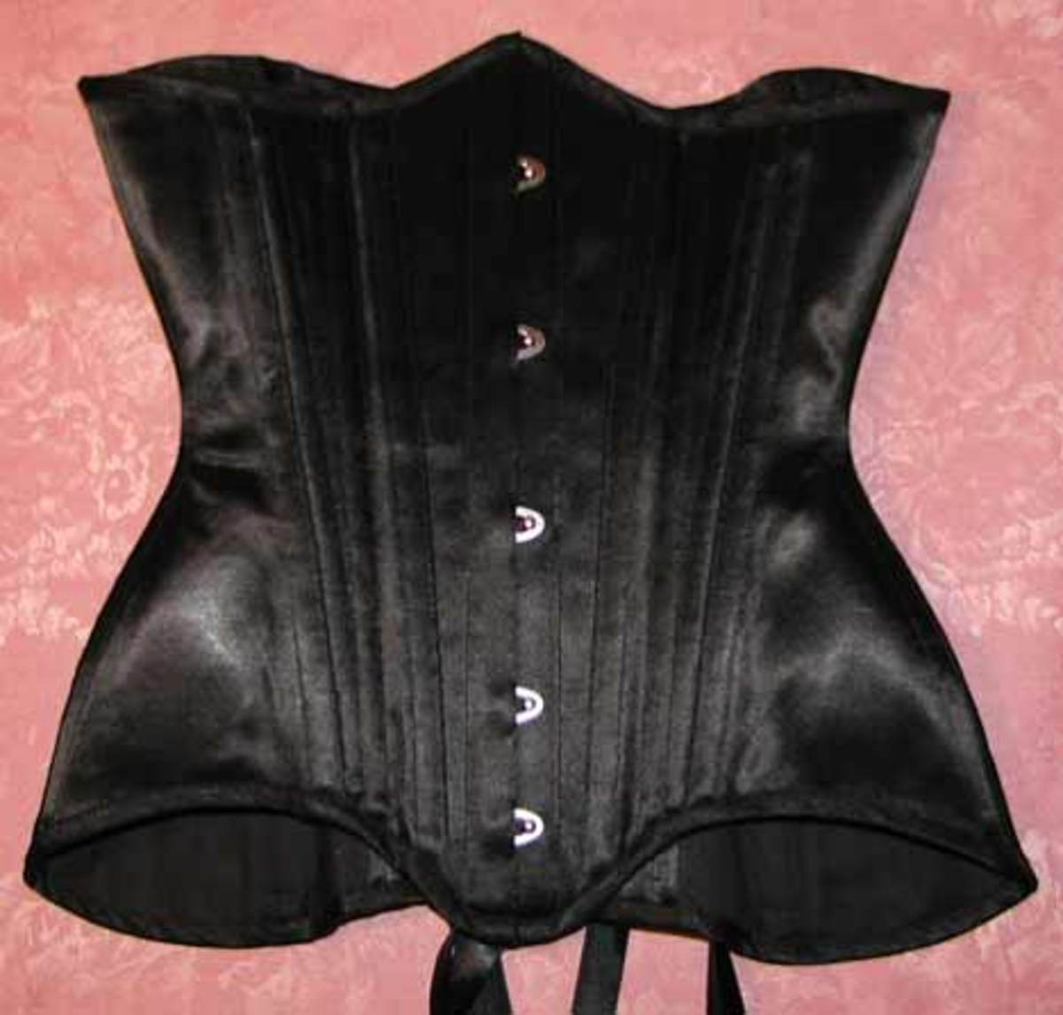 Black Satin Long Line Underbust Corset