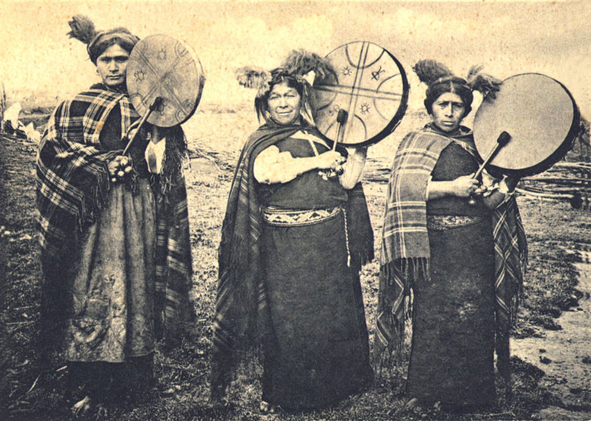 Mapuche machis or shamans. This photo is from 1903.