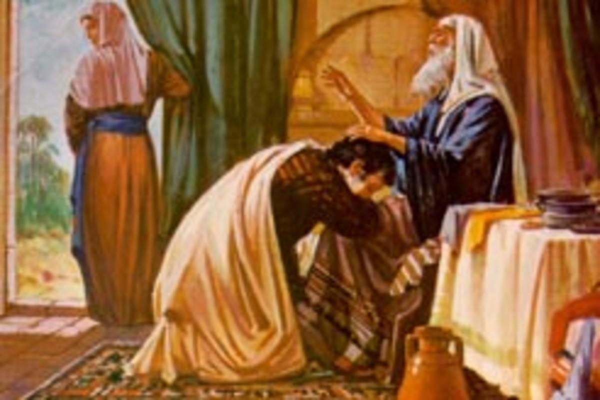 Isaac blessing Jacob.
