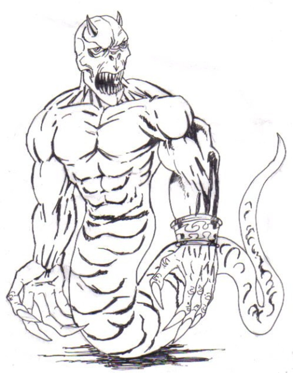 Now the final inked drawing makes the demonic drawing look a bit more real. By Wayne Tully Copyright  2010