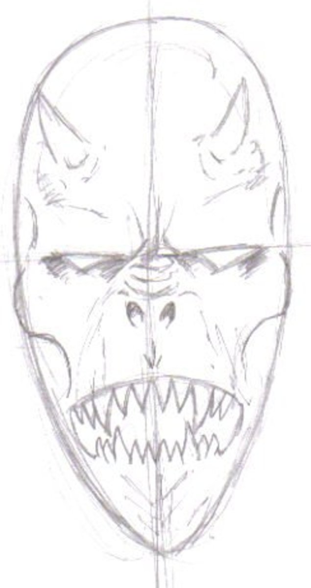 The pencil sketch of the demon head before the inking stage. By Wayne Tully Copyright  2010