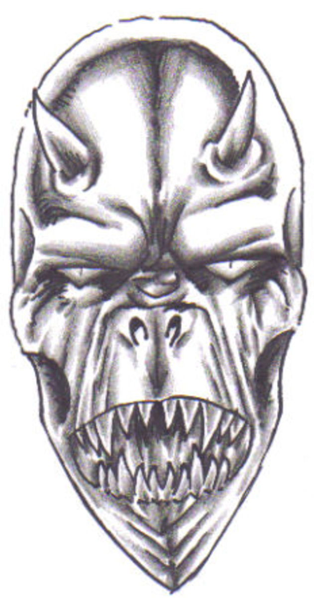 Shading of your demon head will give it more shape and definition, as will colour too. Demonic Art by Wayne Tully Copyright  2010