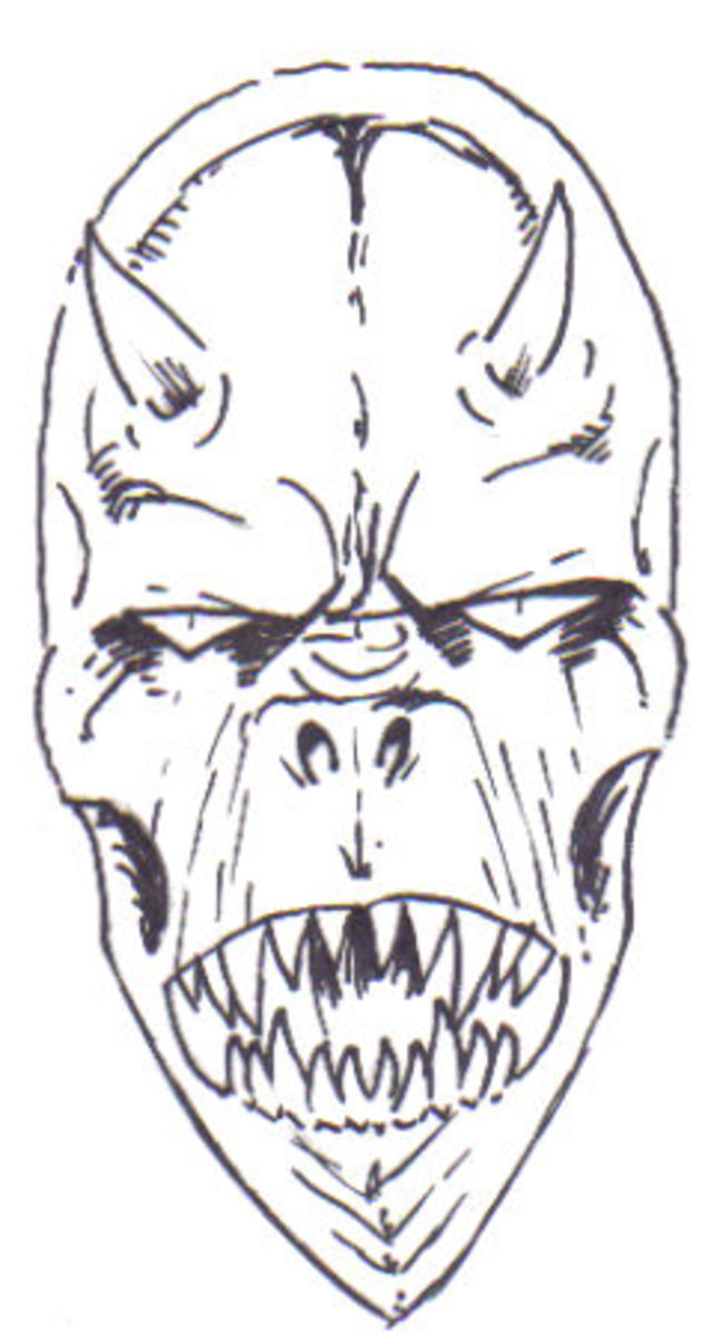 The demon head pencil sketch after the ink is applied, see how it adds shape and structure to your creation! By Wayne Tully Copyright  2010