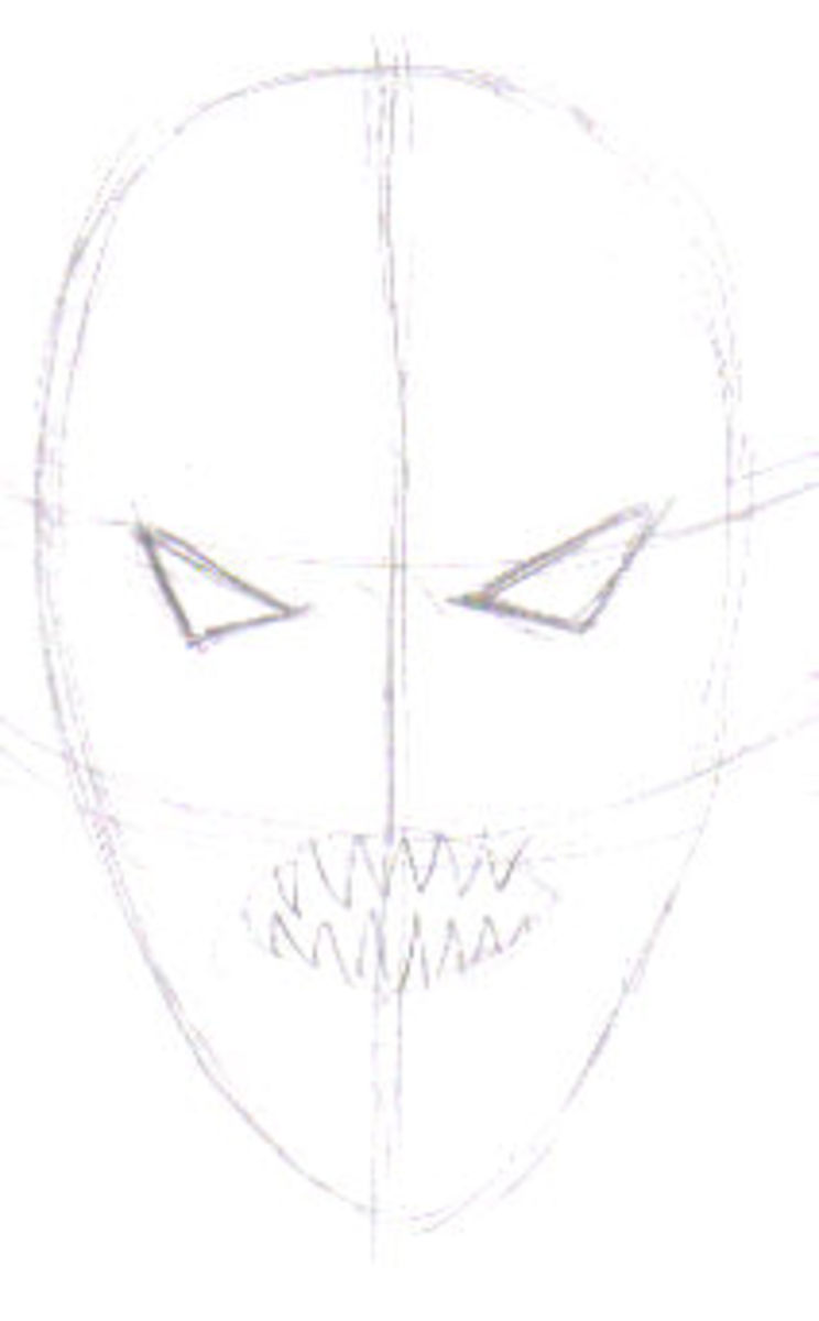The initial demon head drawing, start off with a rough idea in mind.
