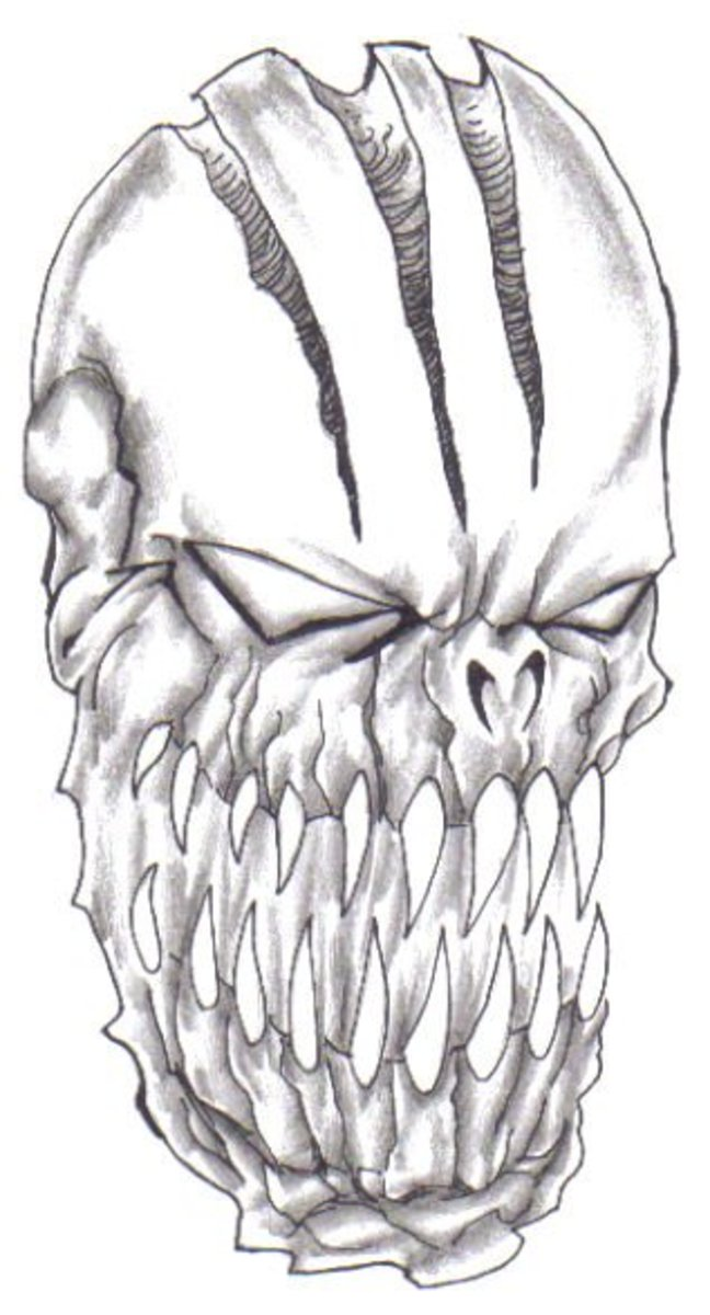 Scary Demons Head Drawing - Learn How To Draw Demons! By Wayne Tully Copyright  2010