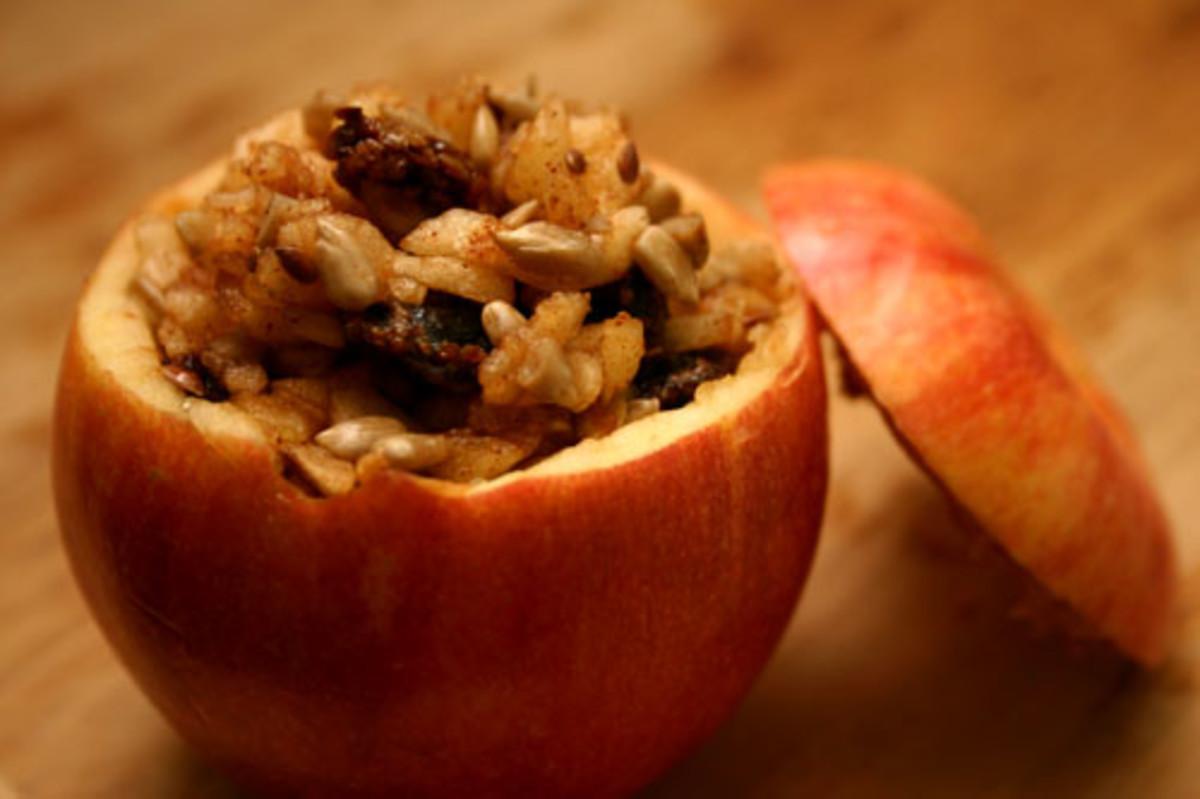 Stuffed Apple Snack Recipe: Peanut Butter, Raisins, Sunflower Seeds