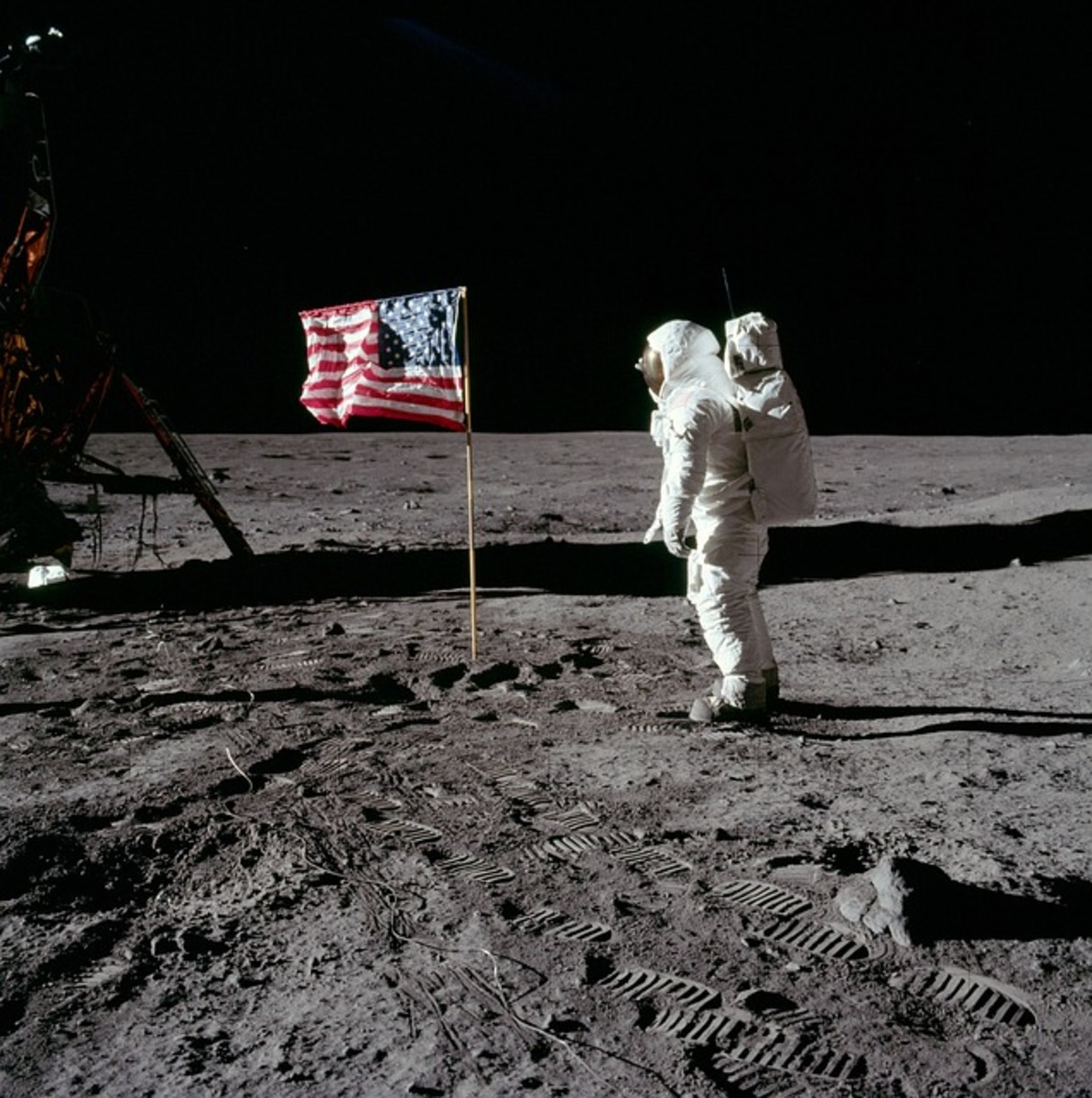 Buzz Aldrin on the moon in 1969 with Apollo 11. Aldrin is a symbol of the ongoing public and private Mission to Mars.