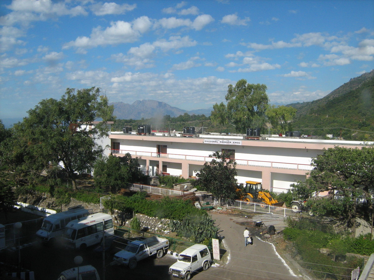 Scenic beauty of Katra Hill Station from Niharika Bhawan Complex in Katra, Jammu.