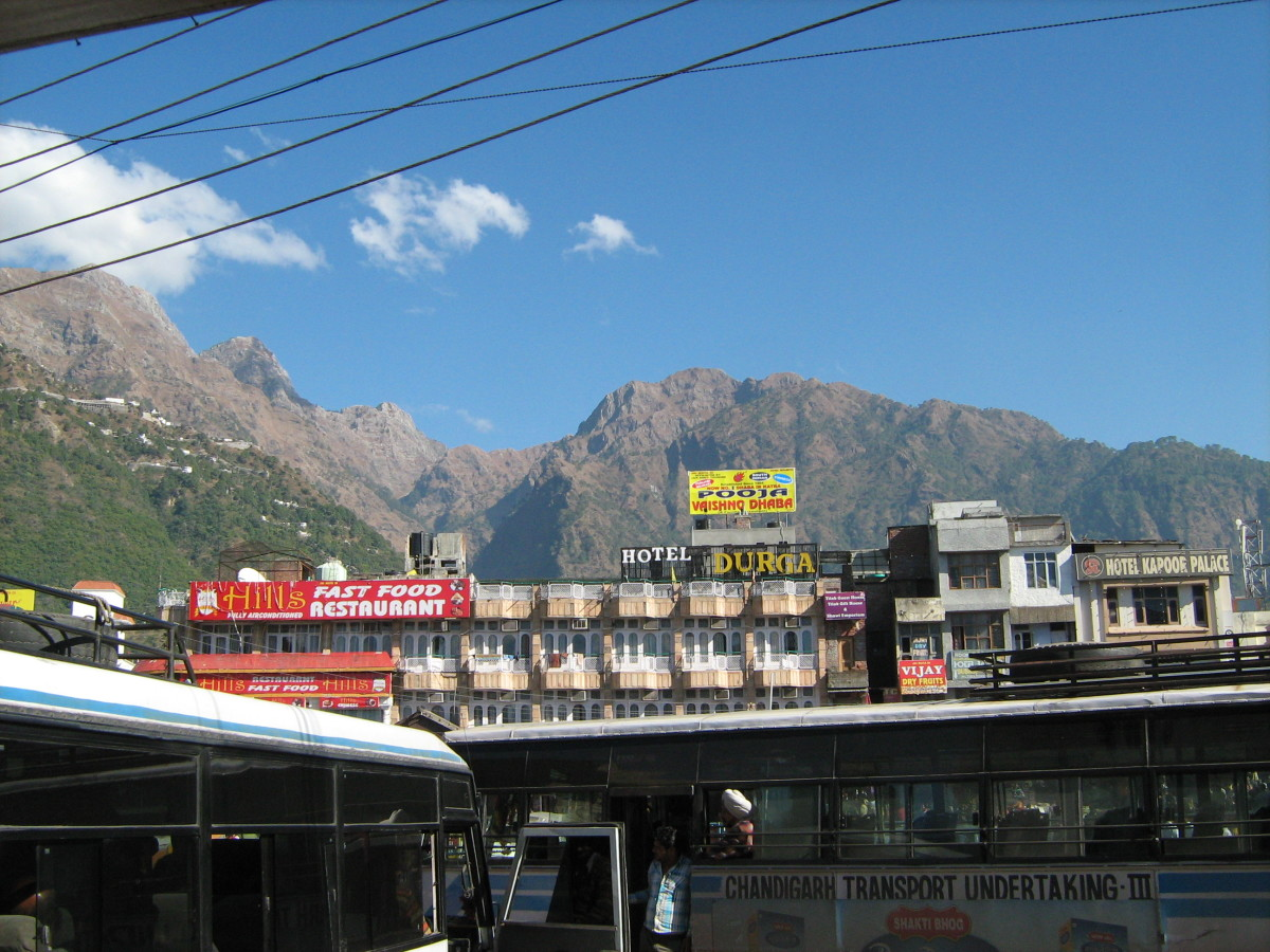 A view of beautiful Trikuta mountains from Katra bus stand Jammu.