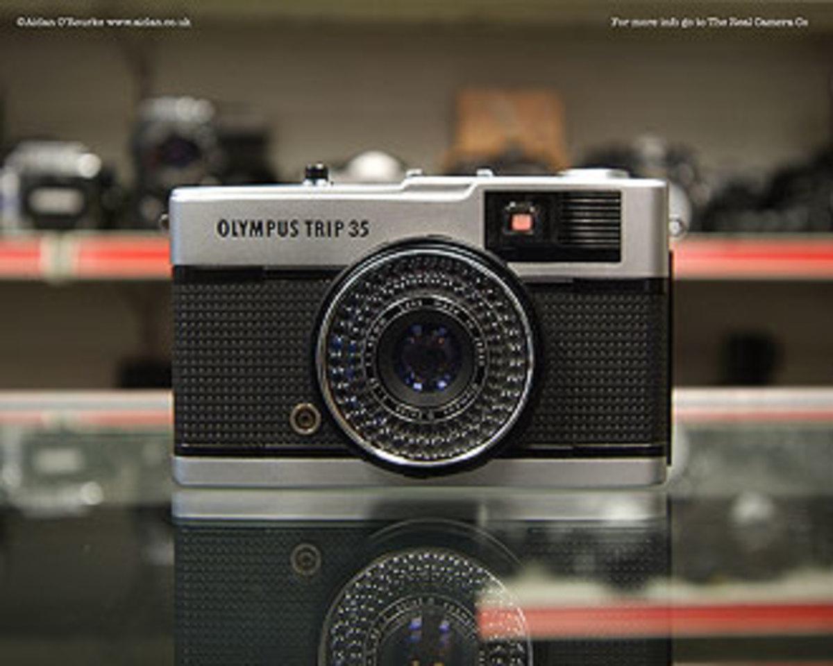 An Olympus film camera