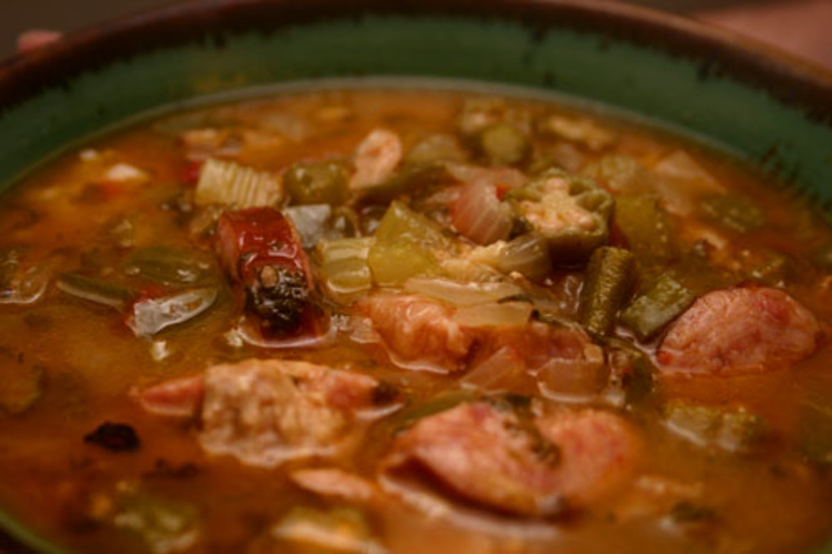okra gumbo with chicken and Andouille sausage