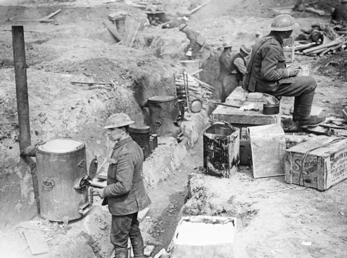 Royal Artillery trench cookers in Wancourt, France.