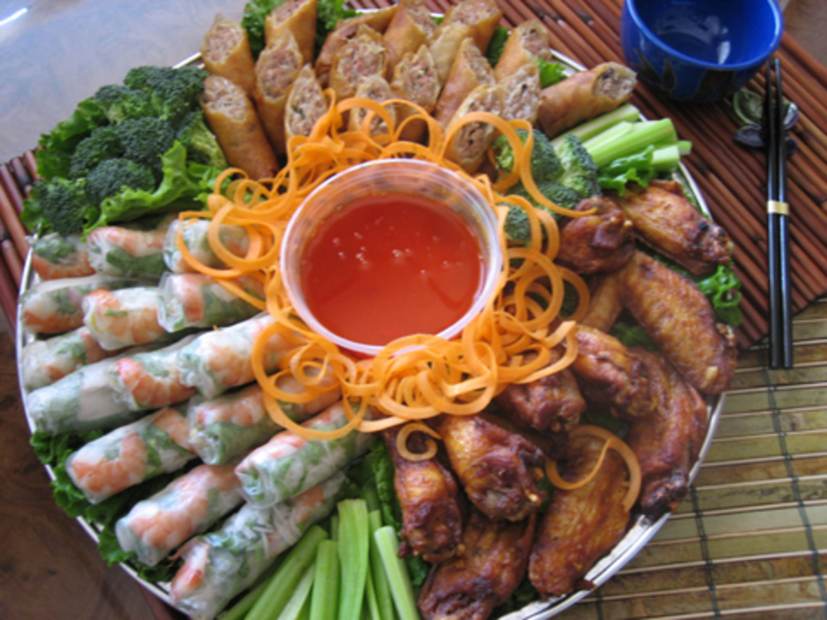 Fresh lumpia and fried lumpia platter
