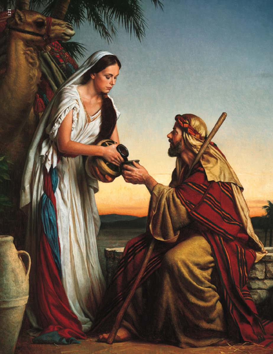 Offering water to Eliezer