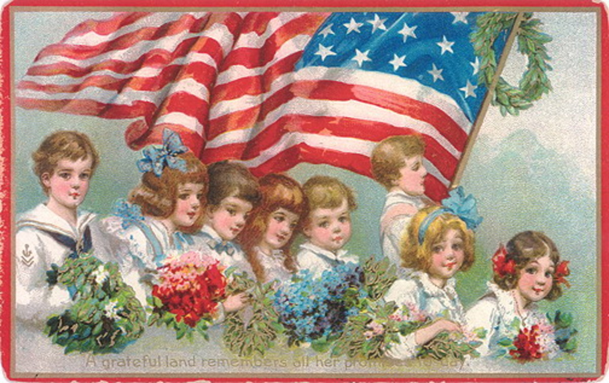 Free vintage post cards for Veterans Day: Children and waving American flag
