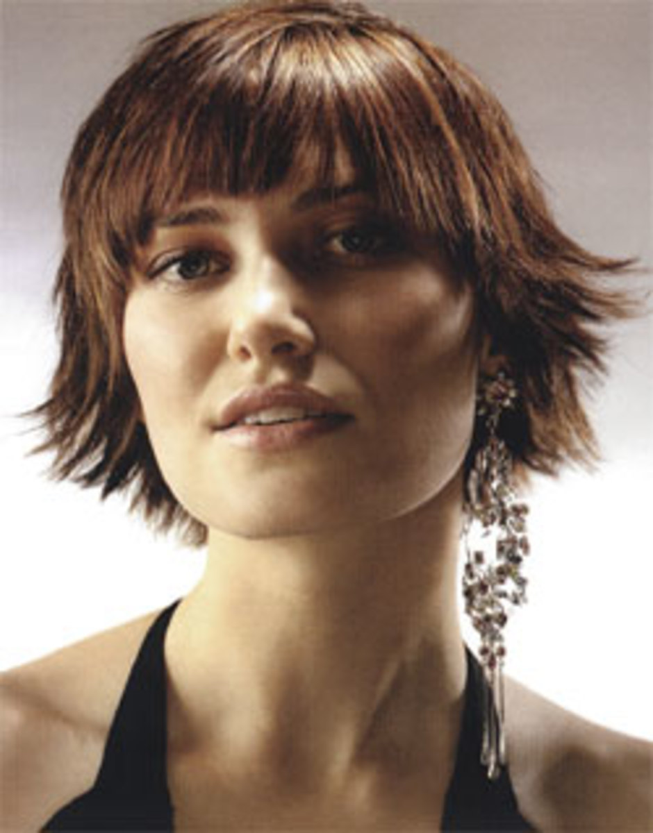 short funky hairstyle with choppy layers