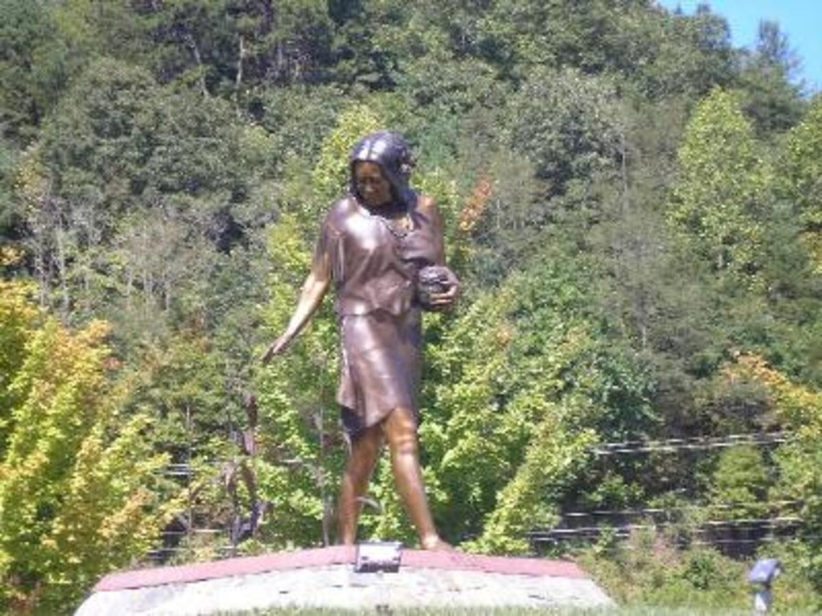 Bronze statue on Cherokee Indian Reservation near the Harrah's Casino in Cherokee,North Carolina