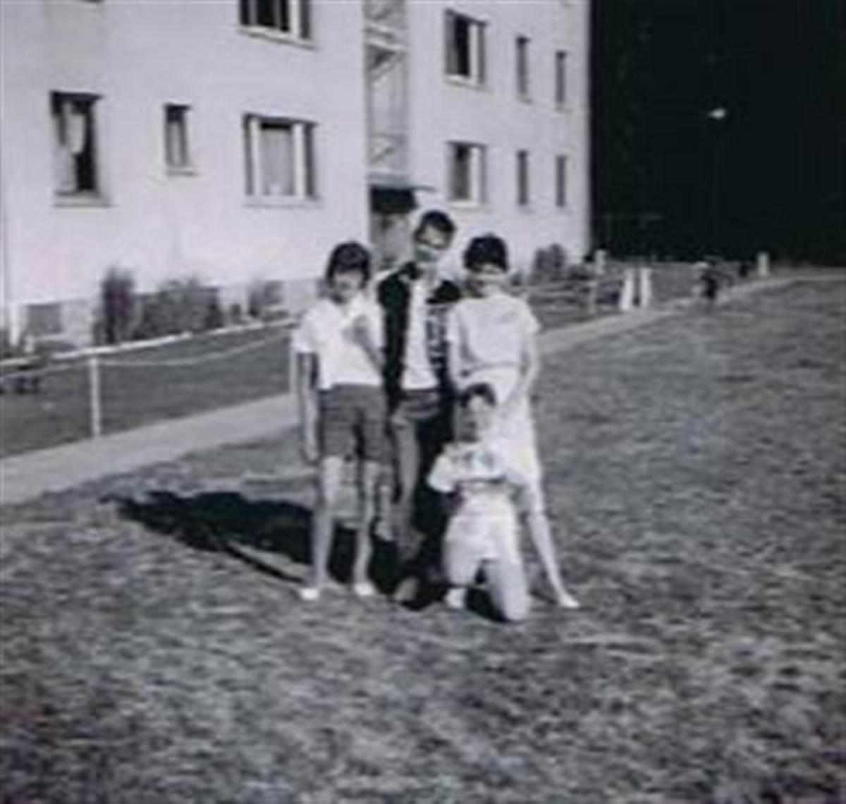 Kathy Picorozzi, Pete Blackburn, Mary Poole,and me in front.Of Mary's Building.