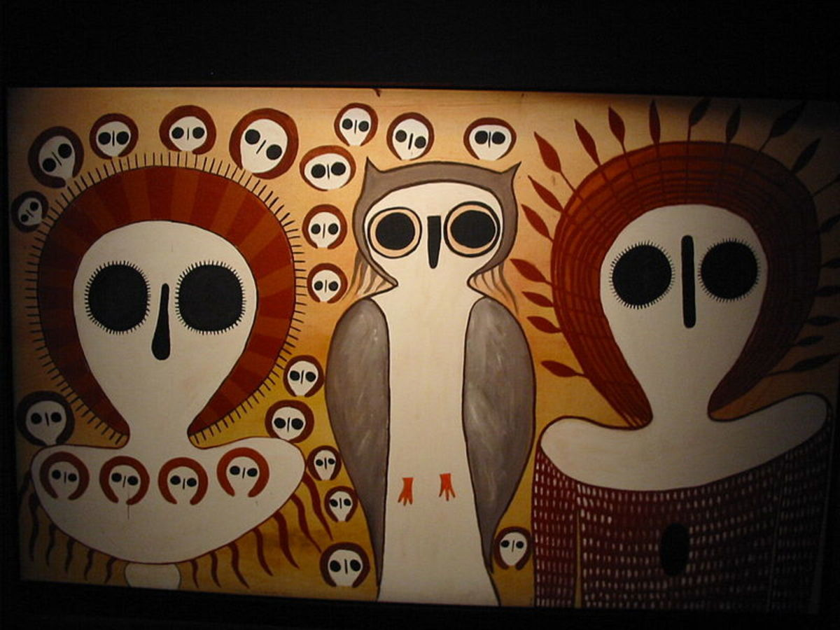 Aboriginal Australian art of an owl and humans or owl people.