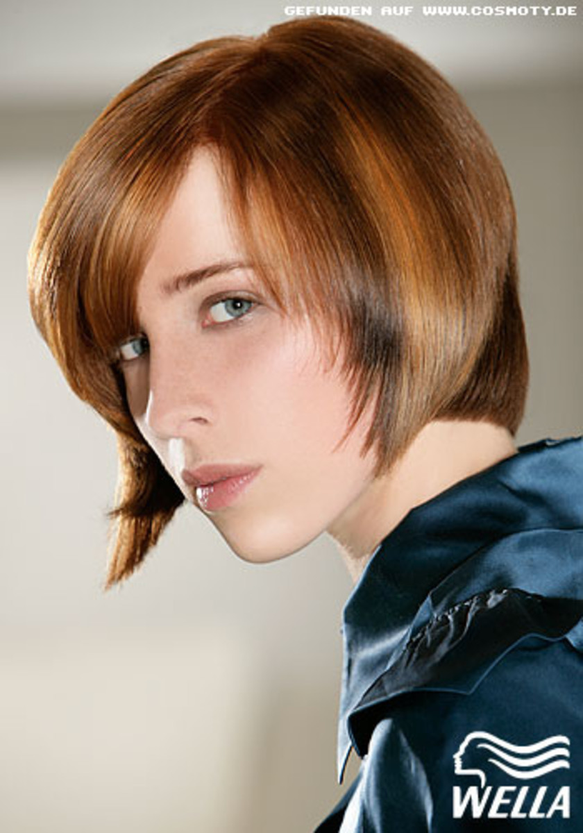 brushed back brown bob hairstyle