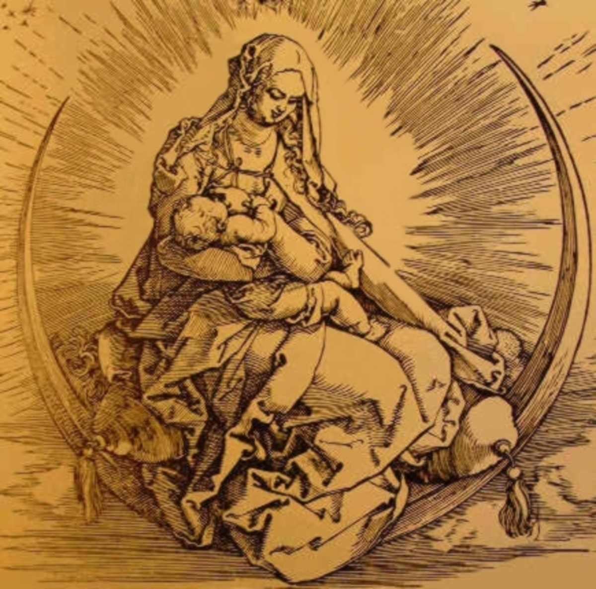 The Virgin Mary sitting upon the cresent moon, nursing the infant Jesus