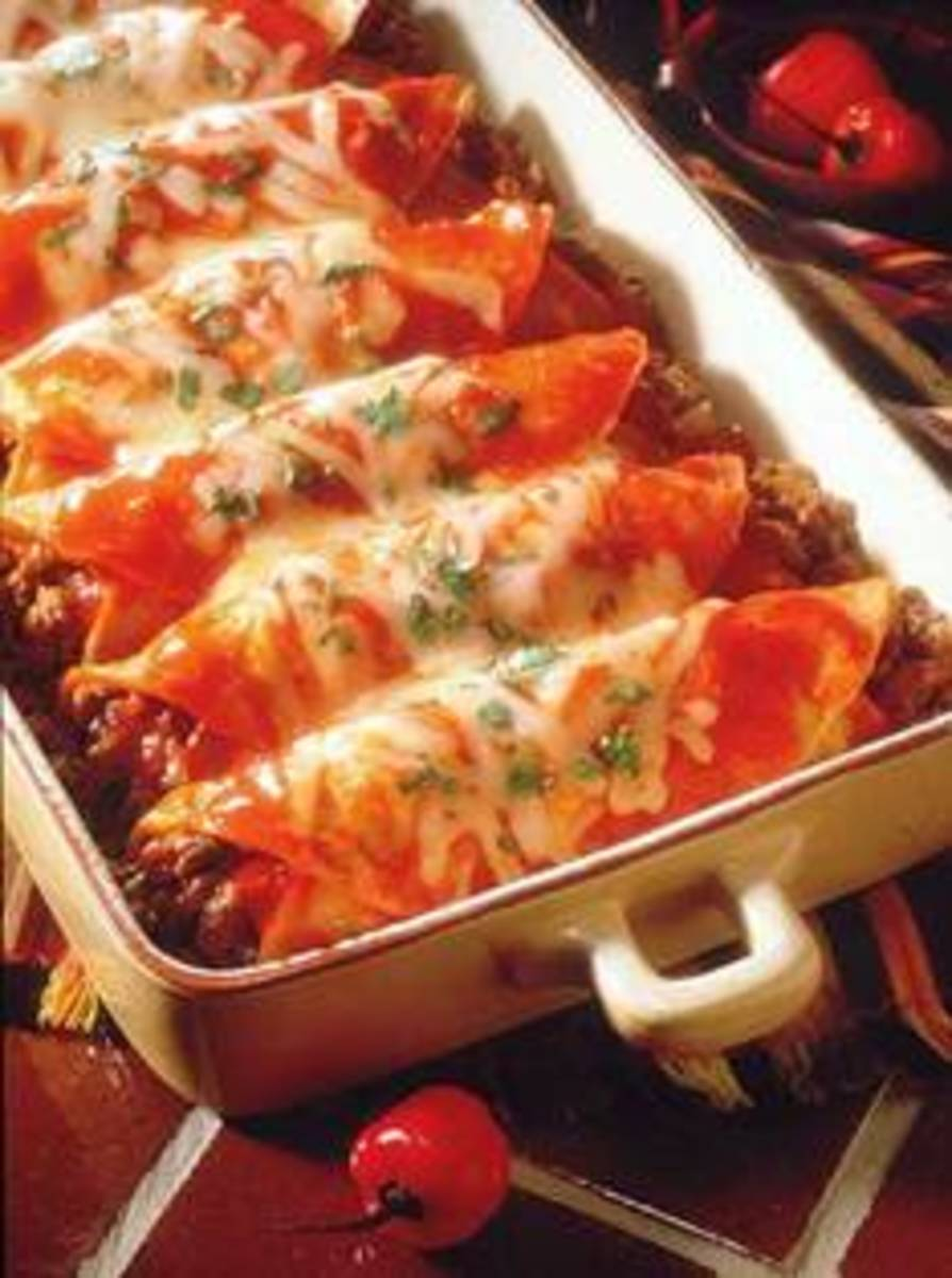 This Mexican beef enchilada looks good and tasty