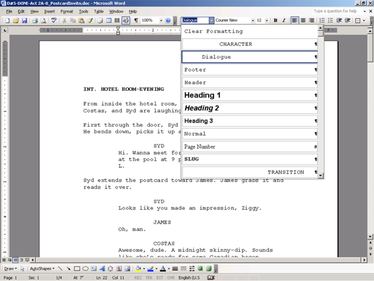 the film insider using microsoft word for screenwriting hubpages