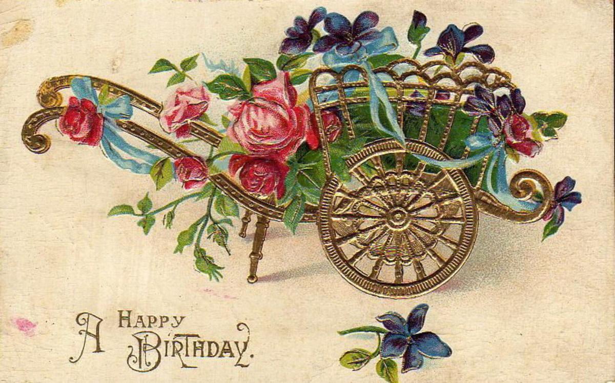 "vintage gold flower cart birthday card ""A Happy Birthday"""