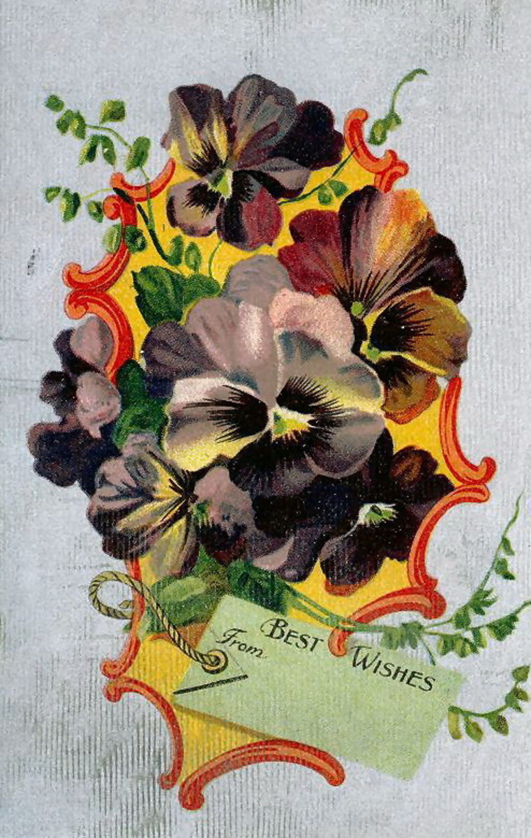 make your own pansies vintage birthday card