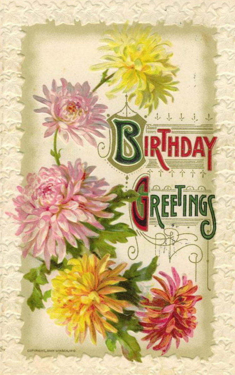 "vintage birthday card ""Birthday Greetings"""
