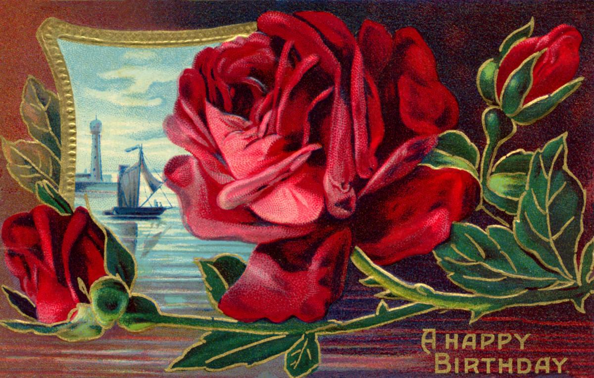 "vintage birthday card: red rose with sea and ship scene ""A Happy Birthday"""