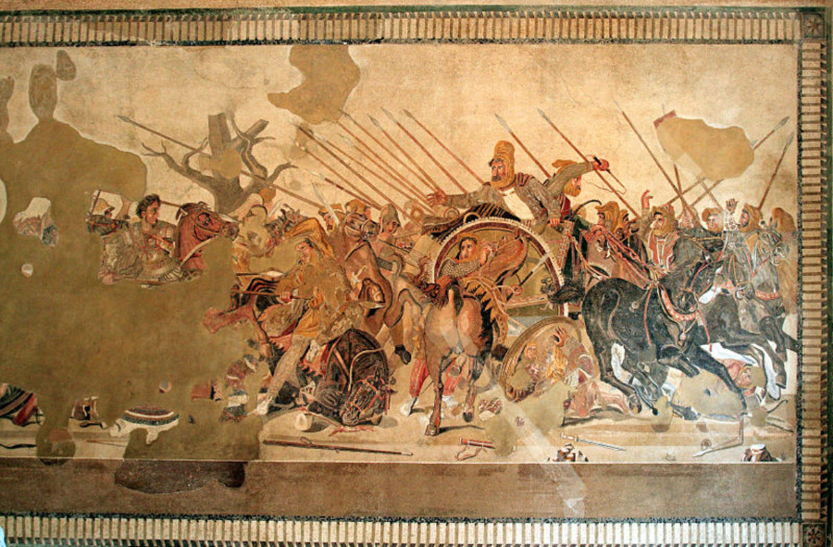 Mosaic recovered from Pompeii, Italy, depicting a battle between the armies of Alexander and Darius. Alexander can be seen on the far left, Darius (in chariot) in the center.