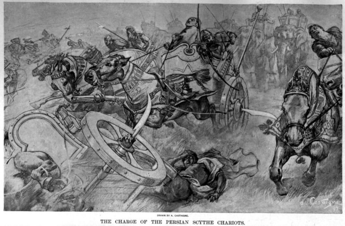 A scythed chariot was a war chariot with sharp blades mounted on the axles.