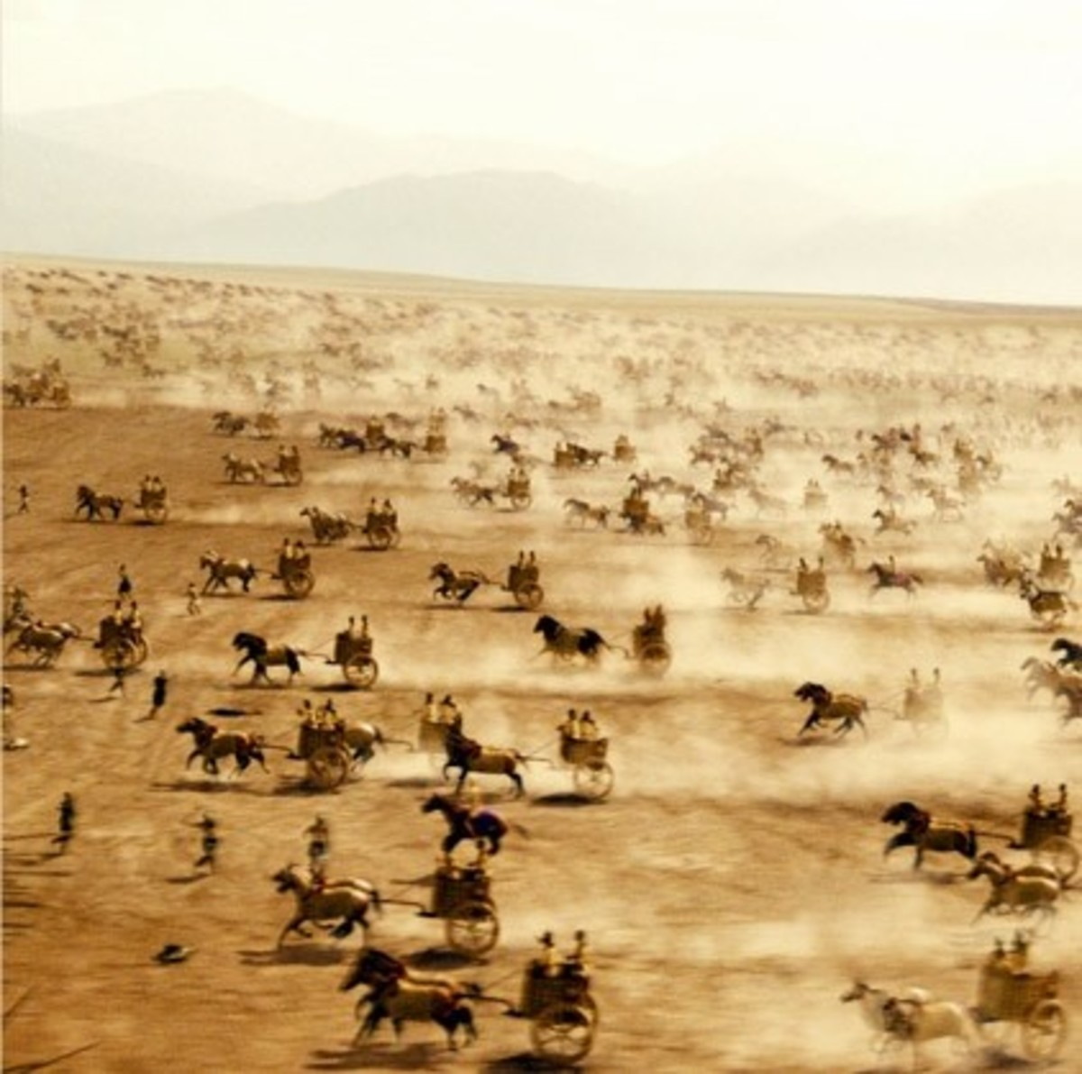 Charging chariots of the Persian army