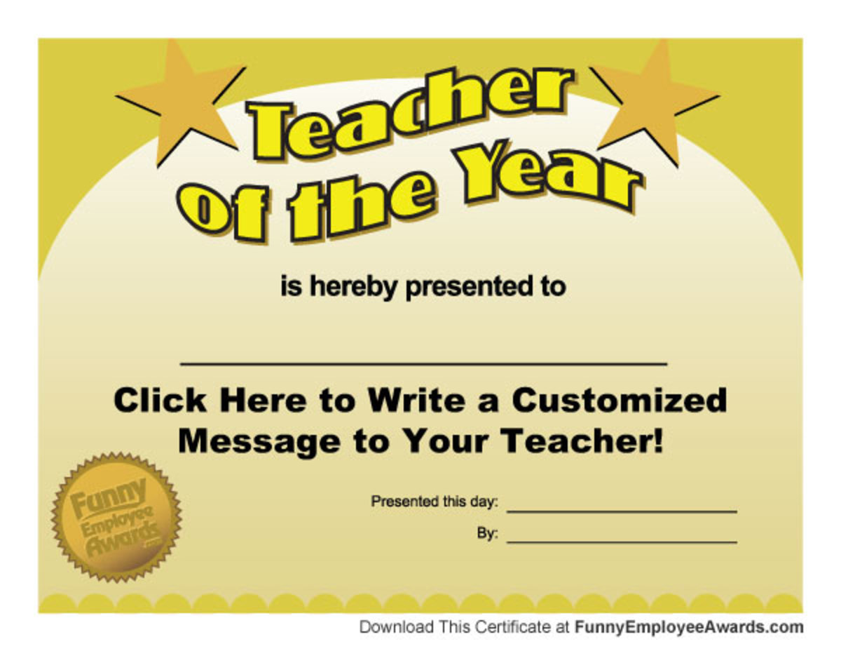 teacher of the month certificate template - funny teacher awards hubpages