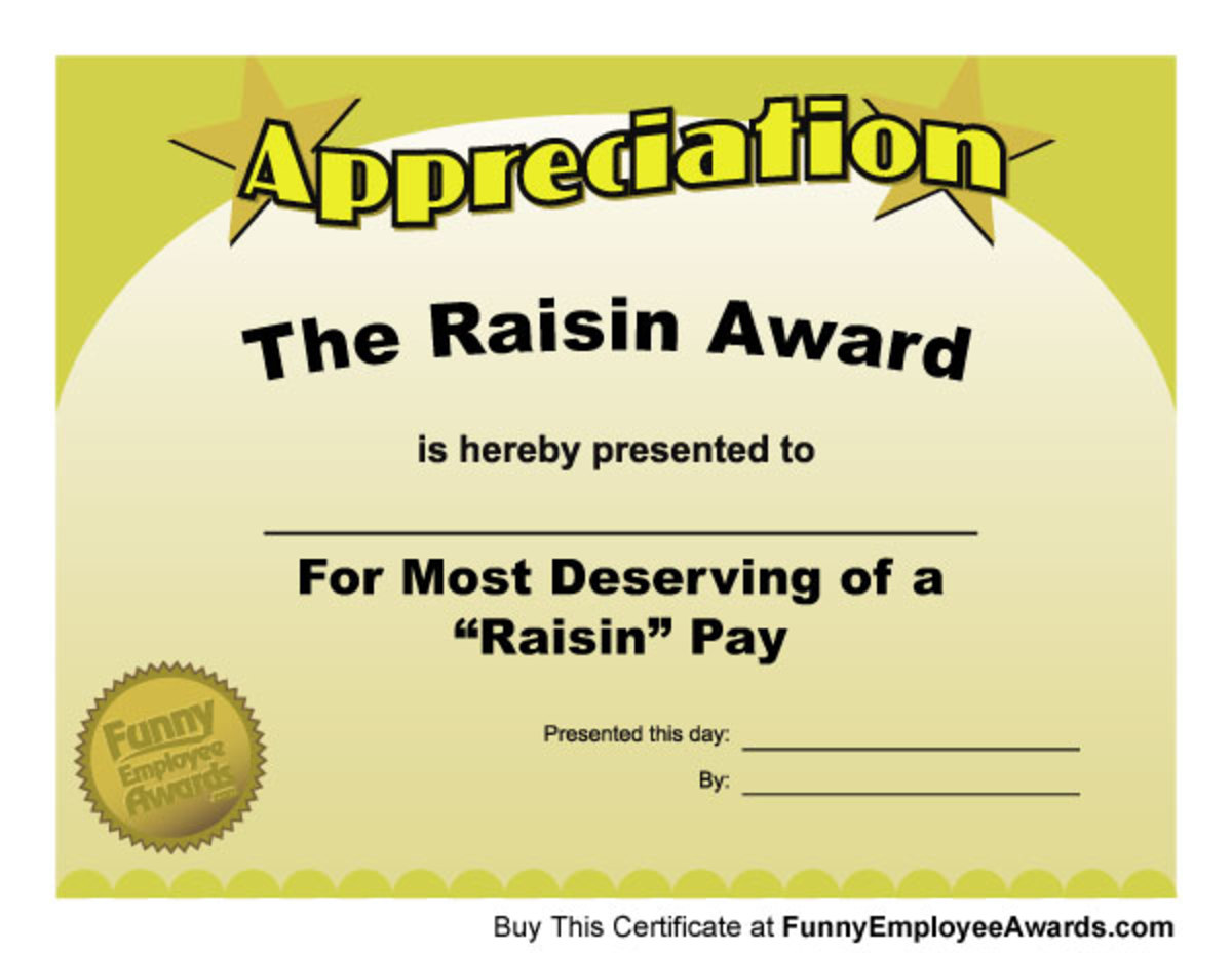 Funny teacher awards hubpages for Funny certificates for employees templates