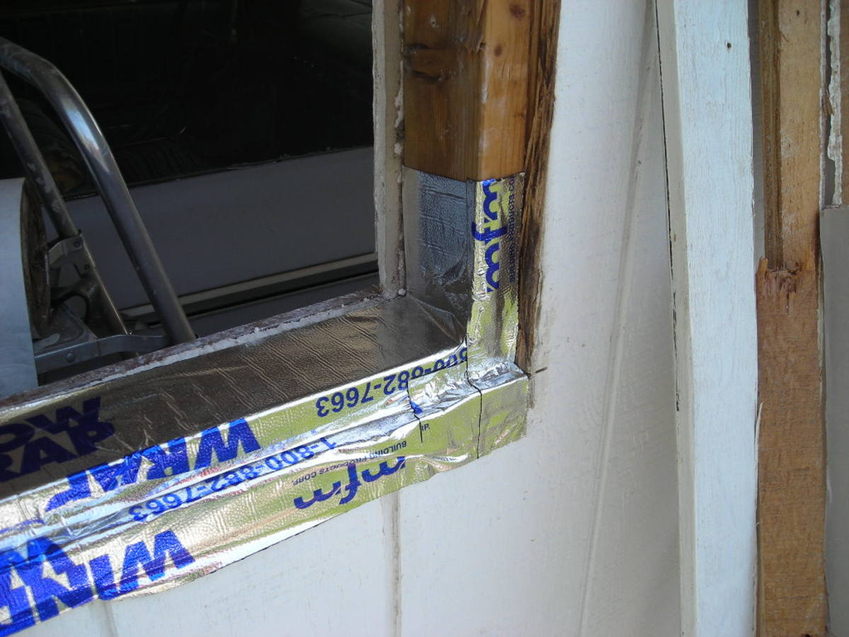 WINDOW TAPE ALONG THE SILL AND SIDES