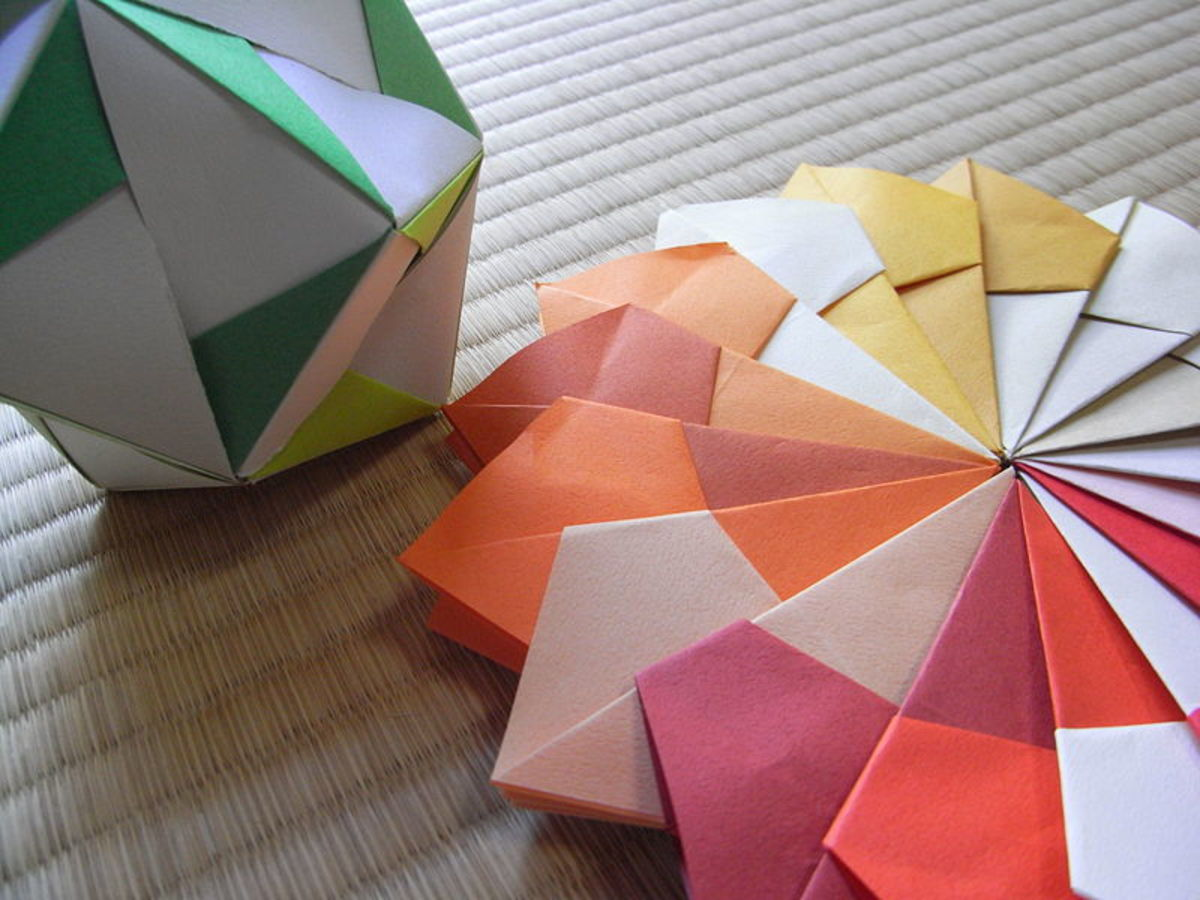 This is an example of modular origami that requires fastening multiple pieces of paper together.