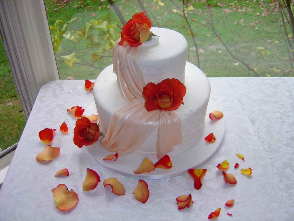 Our Thanksgiving Wedding Cake: German Chocolate w/ Chocolate Filling, Traditional White Fondant w/ Peach-color Sugar Sash, Terracotta Roses