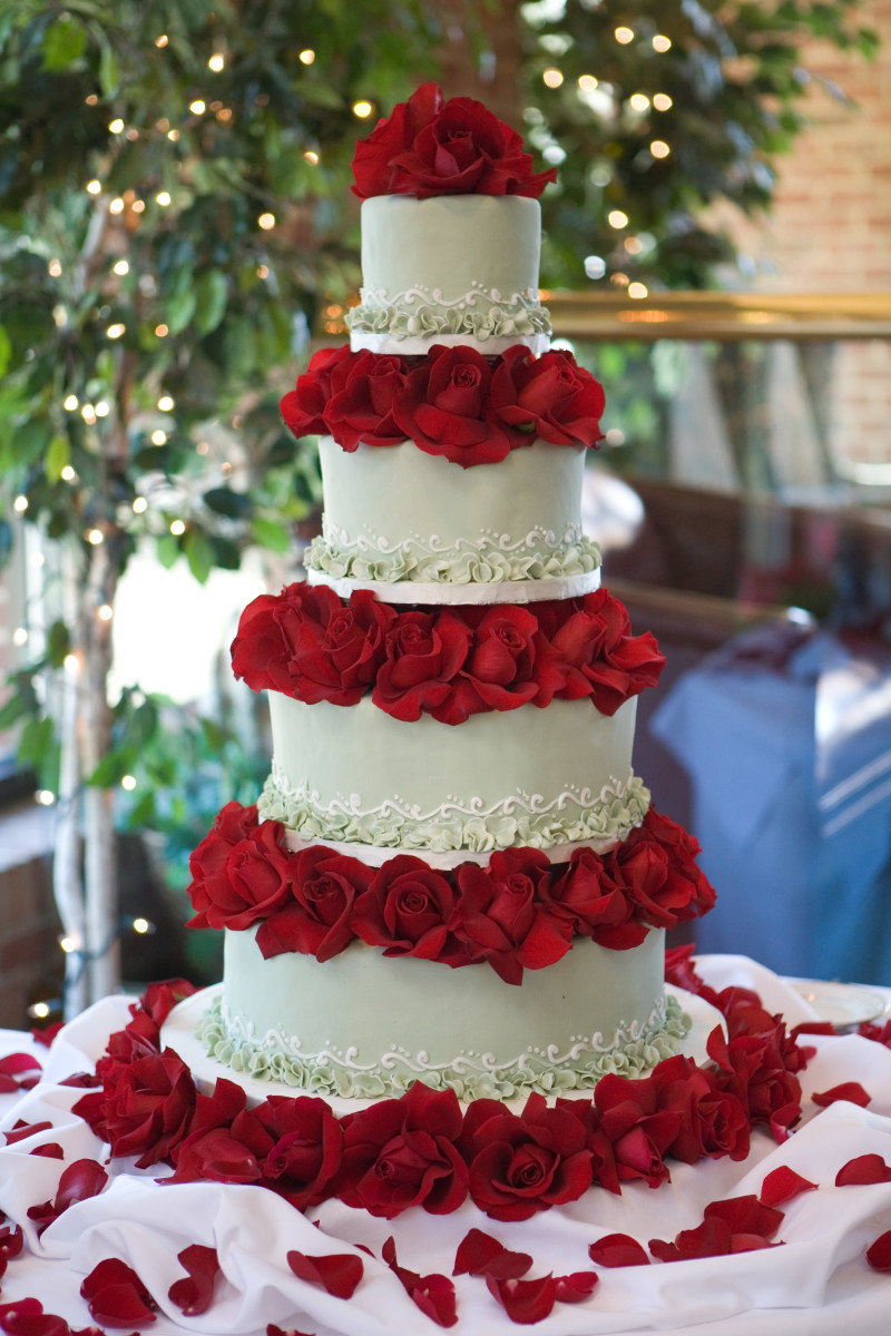 "Our ""BIG"" Wedding Cake: Traditional Fondant in Light Green w/ White Detail; Mixed Flavors: Chocolate, Vanilla, Marble, w/ Raspberry, Chocolate, and Apricot Filling (all tiers); Red Roses"