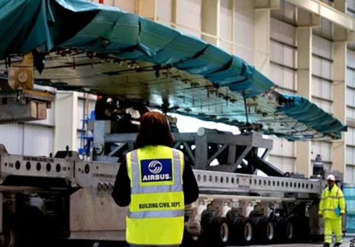 Airbus wing being led to Final Assembly