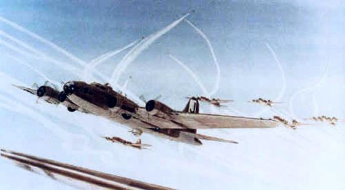 B-17 Flying Fortresses over Germany with defending P-51 Mustangs circling above